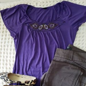 East 5th flutter sleeve top w/ bead embellishment